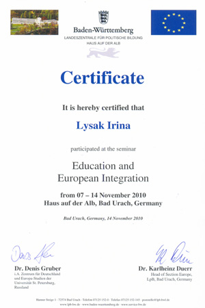 Certificate Germany